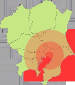 対応エリアの地図